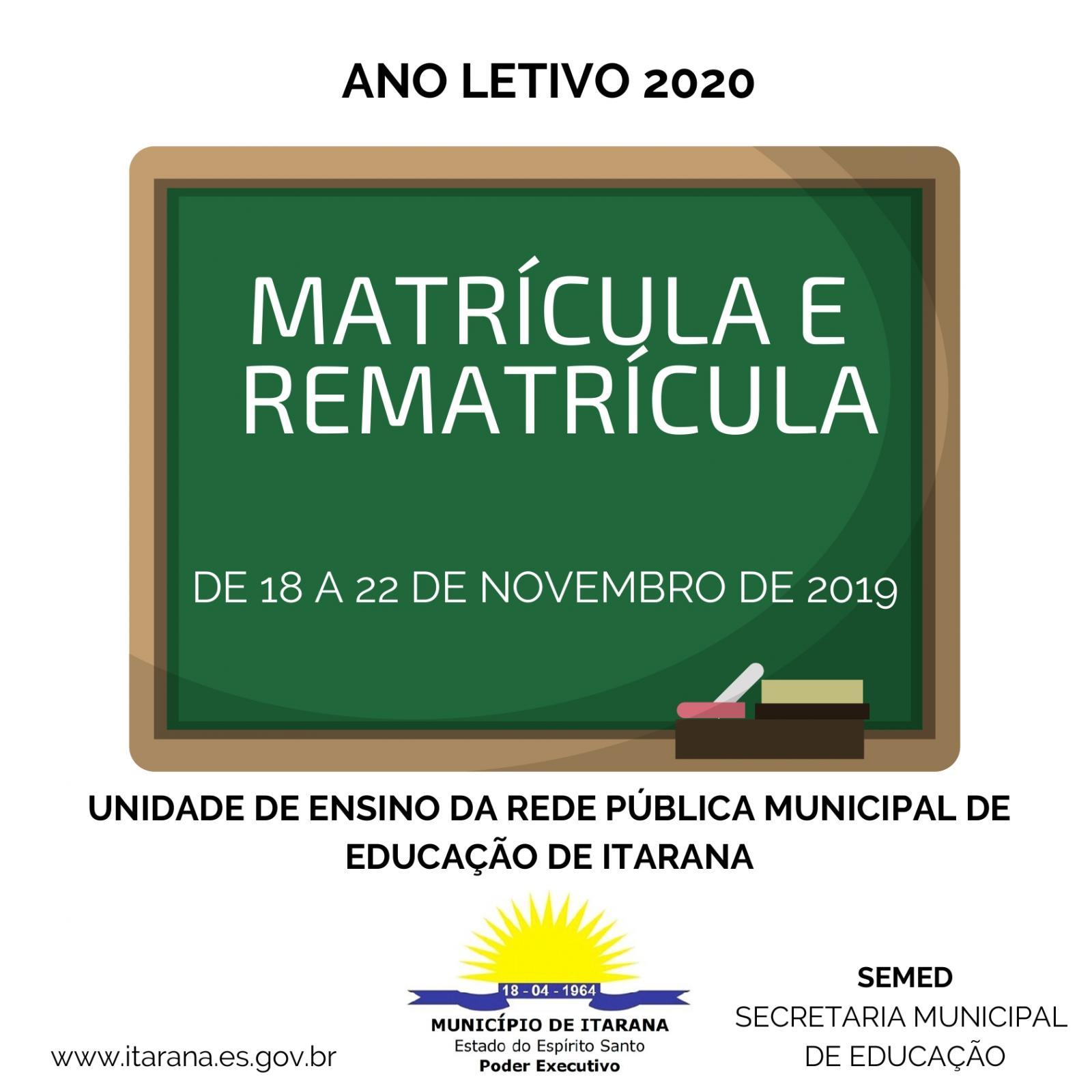 Período para matrícula e rematrícula da Rede Municipal de Educação vai de 18 a 22 de novembro
