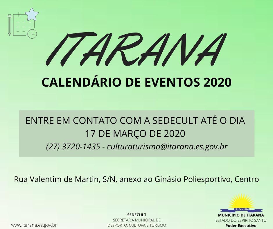 Informações para o Calendário de Eventos 2020