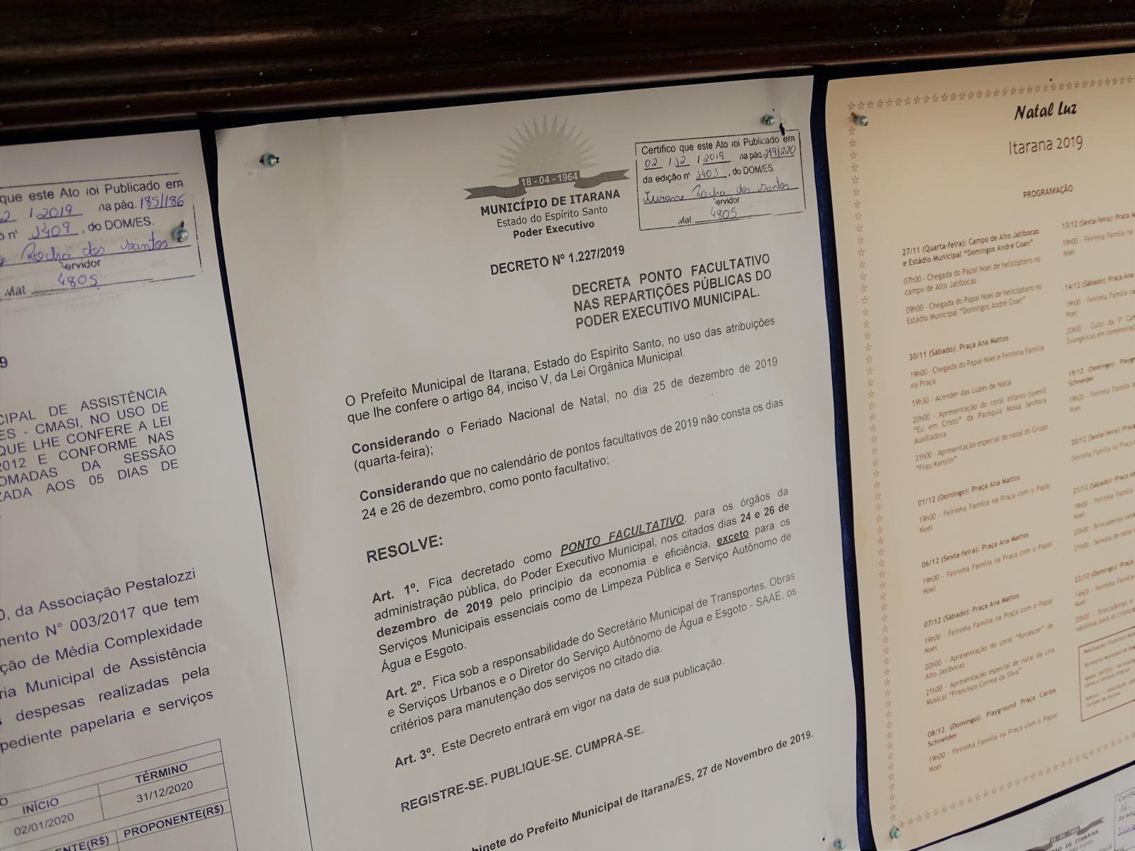 Prefeitura decreta ponto facultativo para os dias 24 e 26 de dezembro