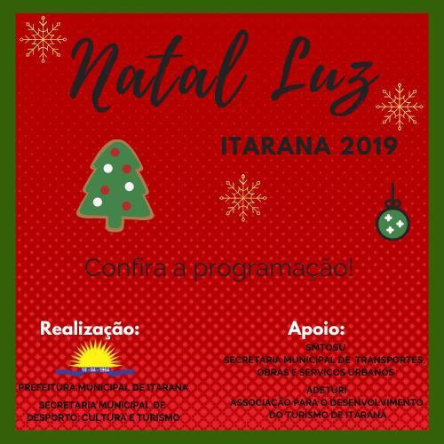 Programação do Natal Luz Itarana 2019
