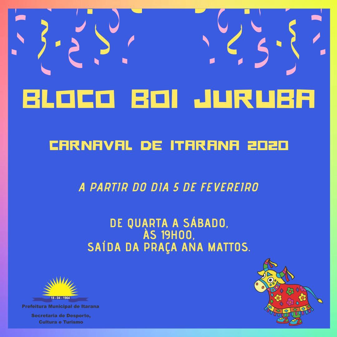 Carnaval de Itarana 2020: Bloco Boi Juruba começa no dia 5 de fevereiro
