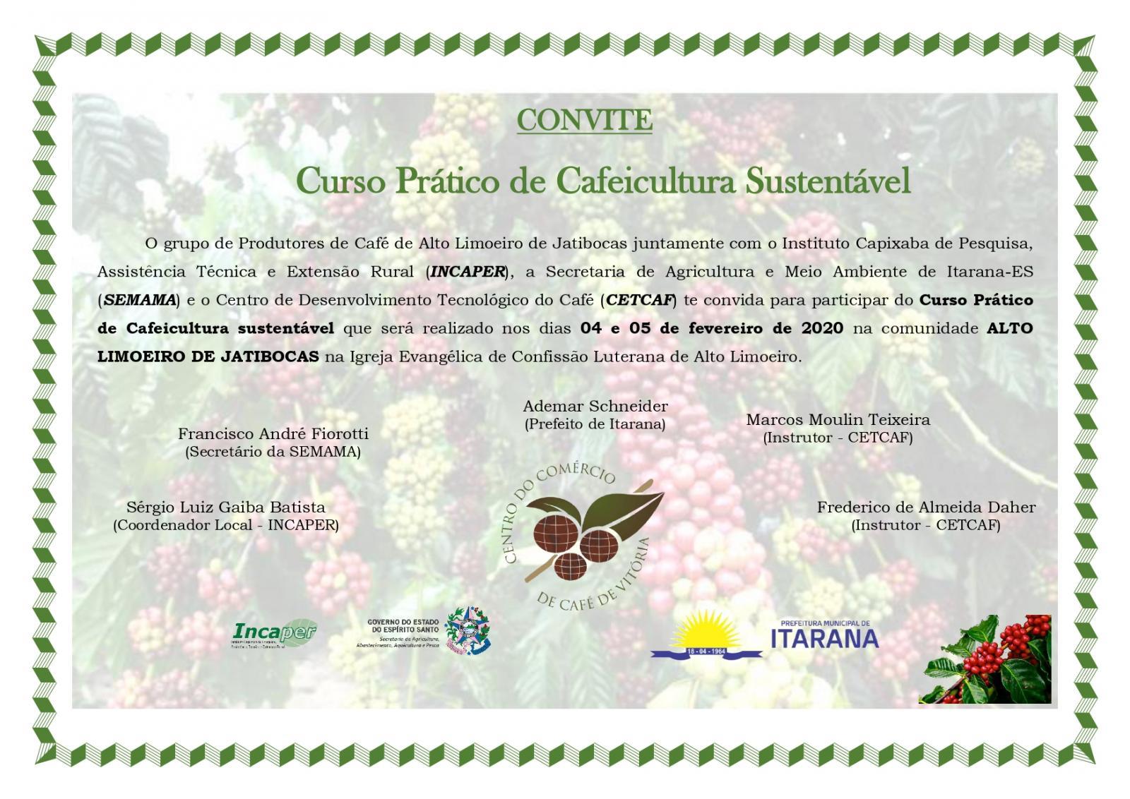 Secretaria Municipal de Agricultura e Meio Ambiente convida interessados para participarem do Curso Prático de Cafeicultura Sustentável