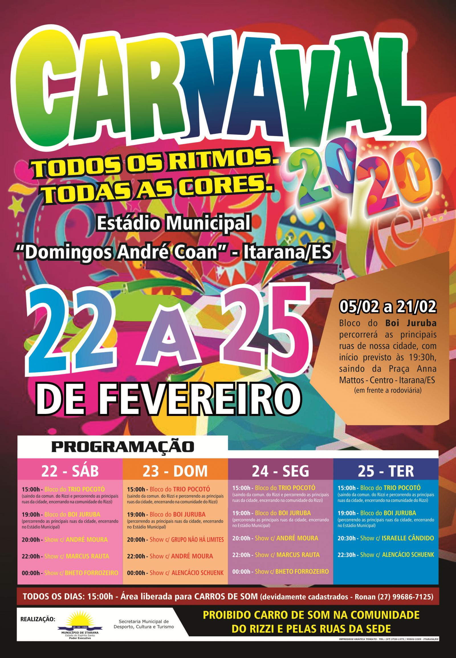 Prefeitura Municipal de Itarana apresenta programação do carnaval 2020 com blocos de rua e shows noturnos