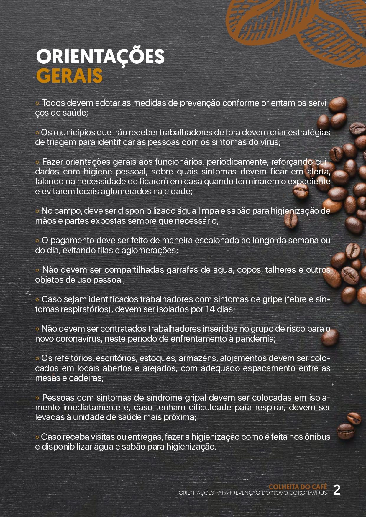 Coronavírus (COVID-19): SEAG cria cartilha para prevenção na colheita do café