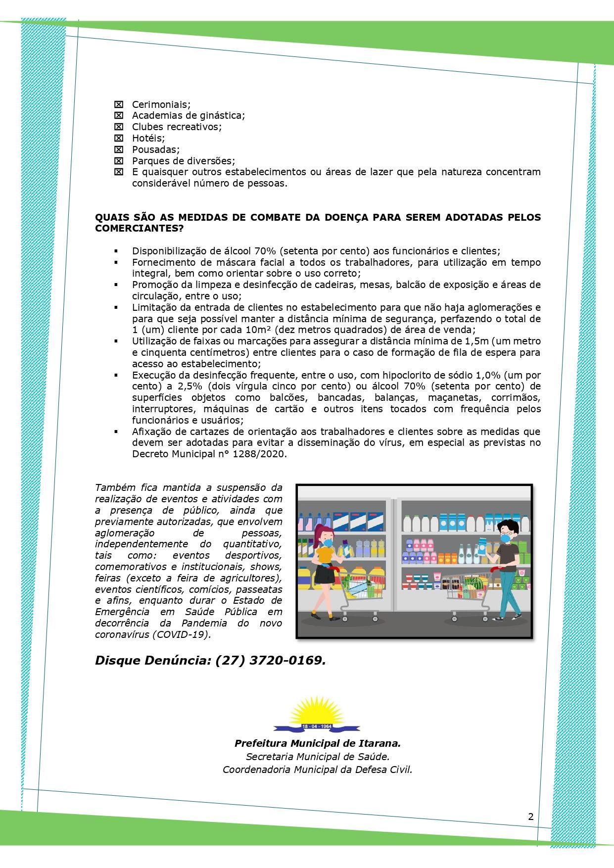 Coronavírus (COVID-19): Cartilha de orientação sobre o funcionamento dos estabelecimentos comerciais é disponibilizada para a população