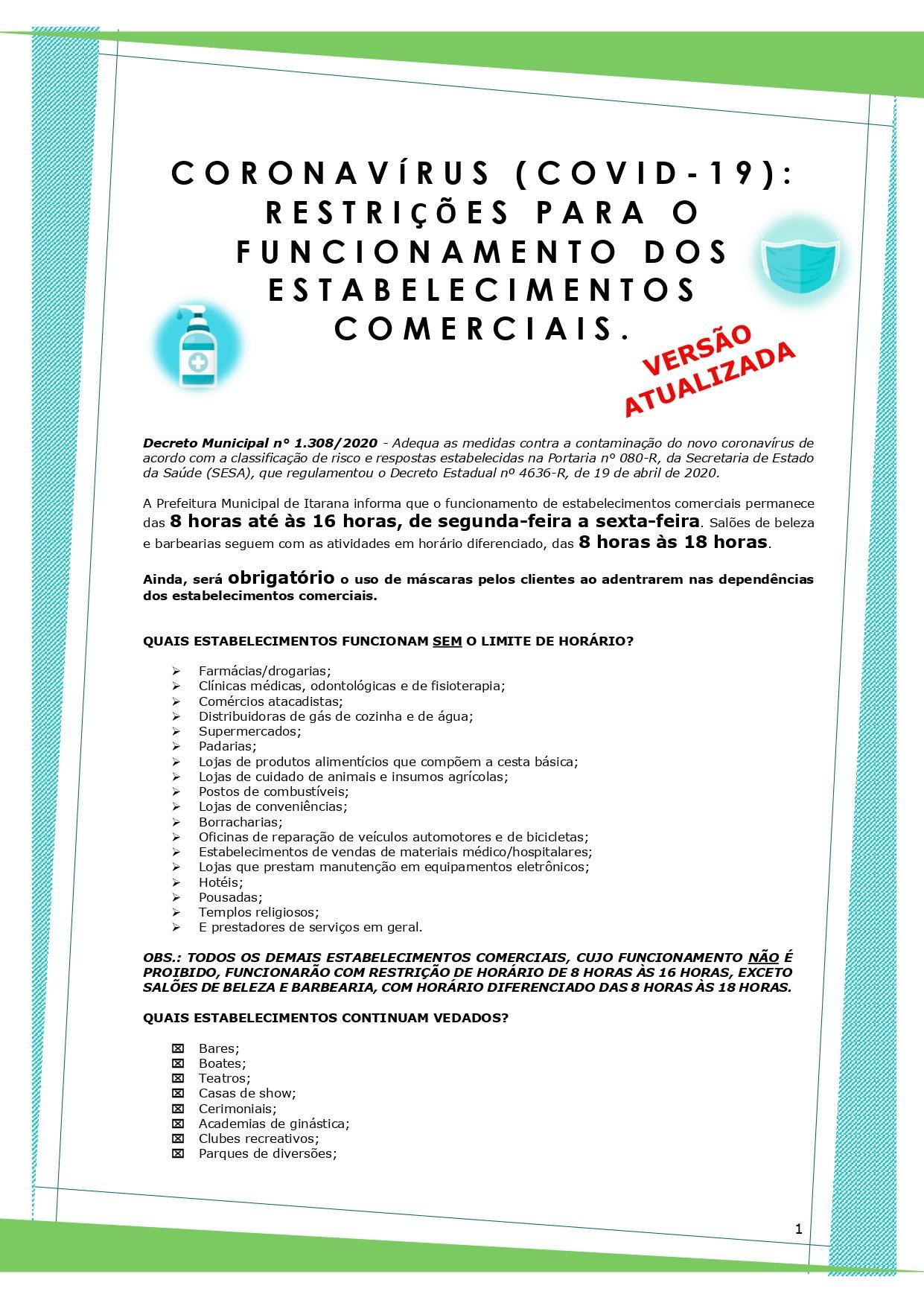 Coronavírus (COVID-19): Versão atualizada da cartilha de orientação sobre o funcionamento dos estabelecimentos comerciais é disponibilizada