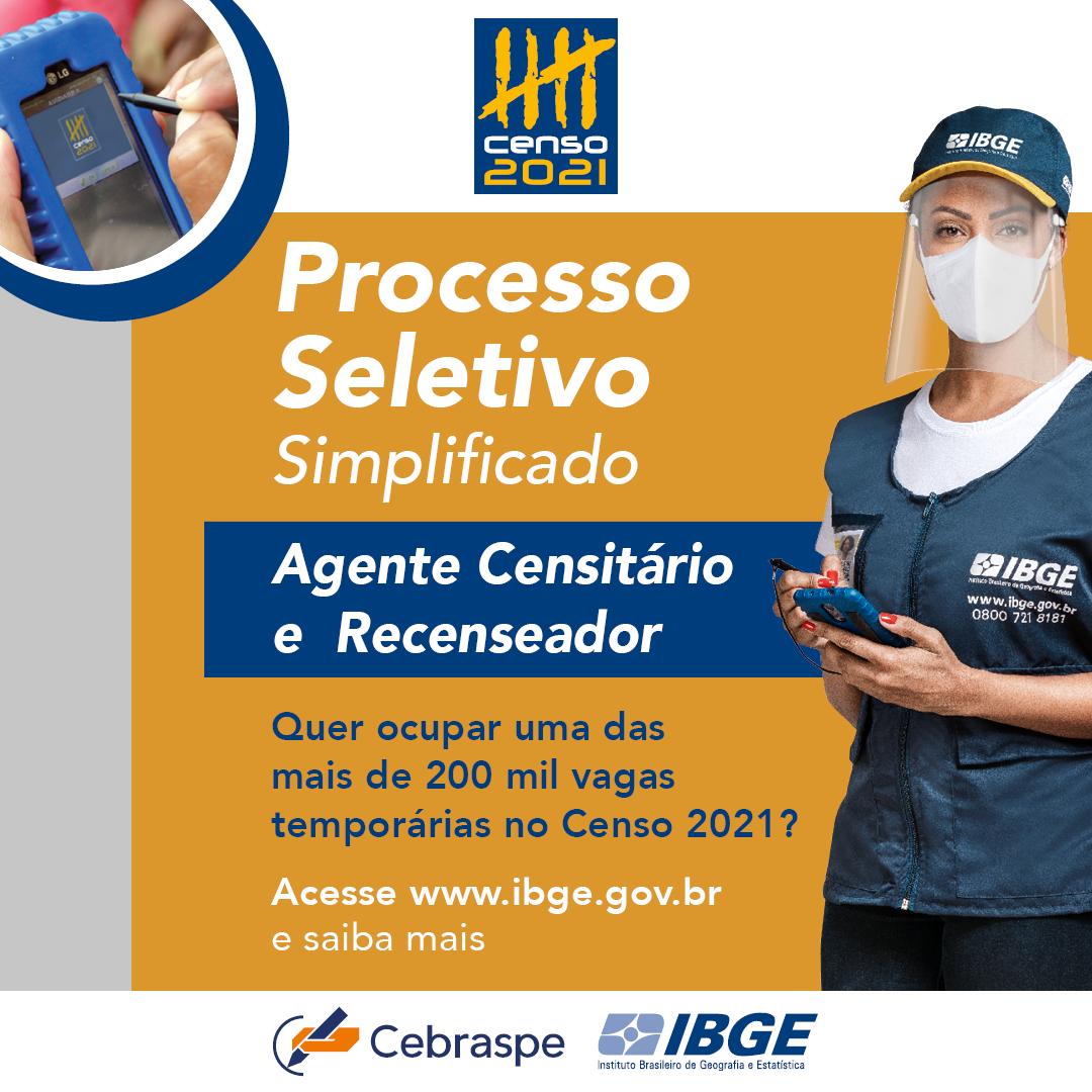 IBGE abriu processos seletivos do Censo 2021 com vagas para Itarana