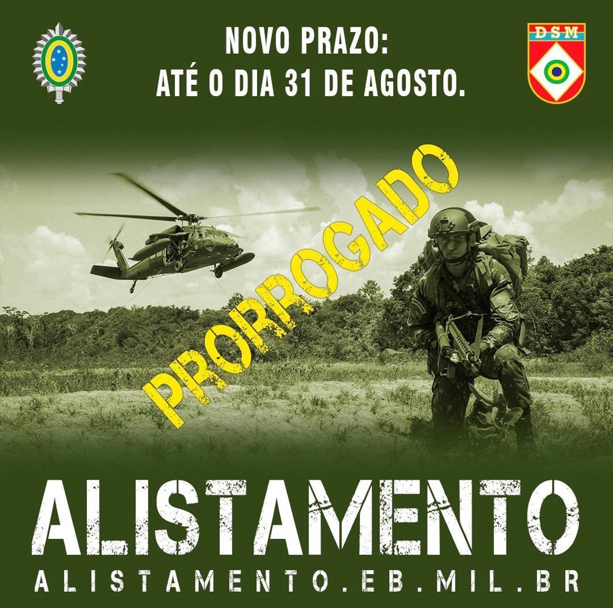 Prazo para o alistamento militar é prorrogado para até o dia 31 de agosto