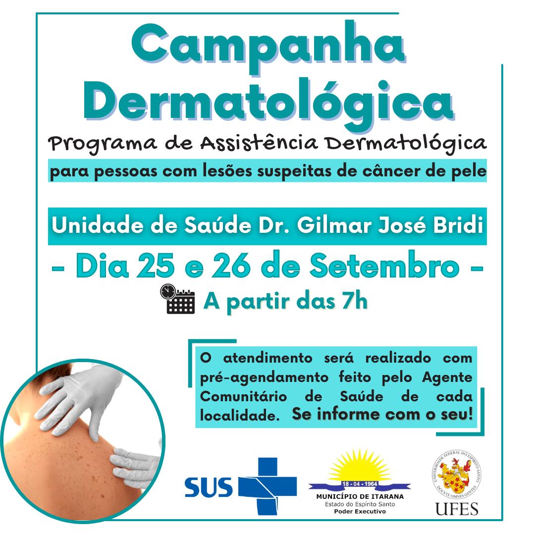 Itarana receberá Campanha Dermatológica nos dias 25 e 26 de setembro