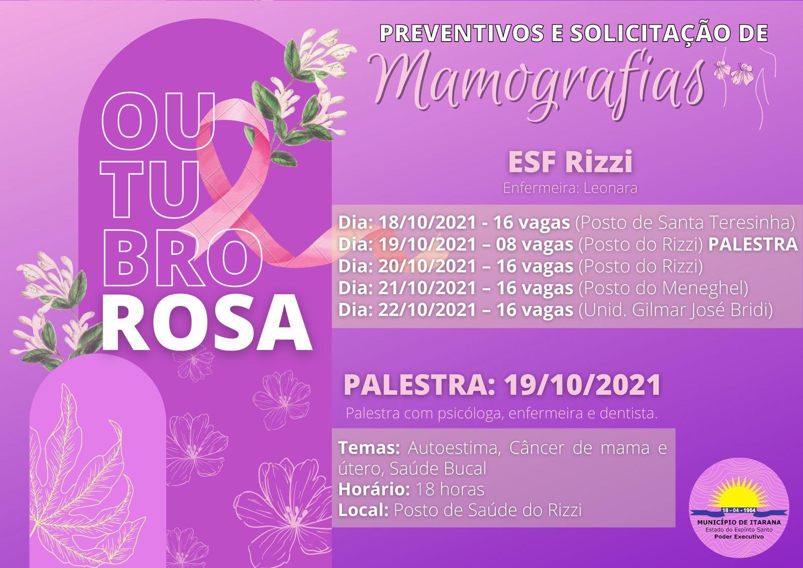 Outubro Rosa: ações para o mês destinado à campanha de prevenção ao câncer de mama e de colo do útero