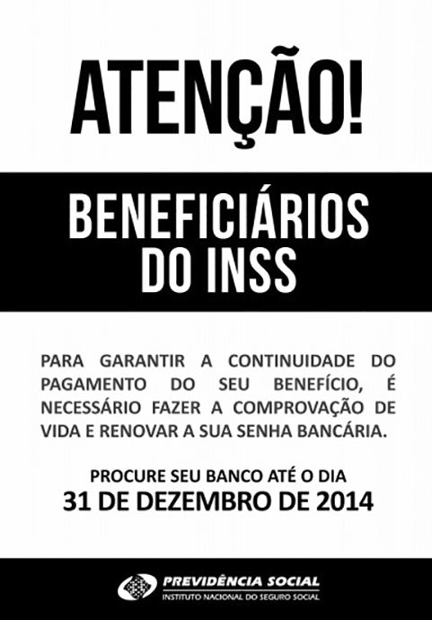 Beneficiários do INSS devem renovar senha e fé de vida até o dia 31 de dezembro