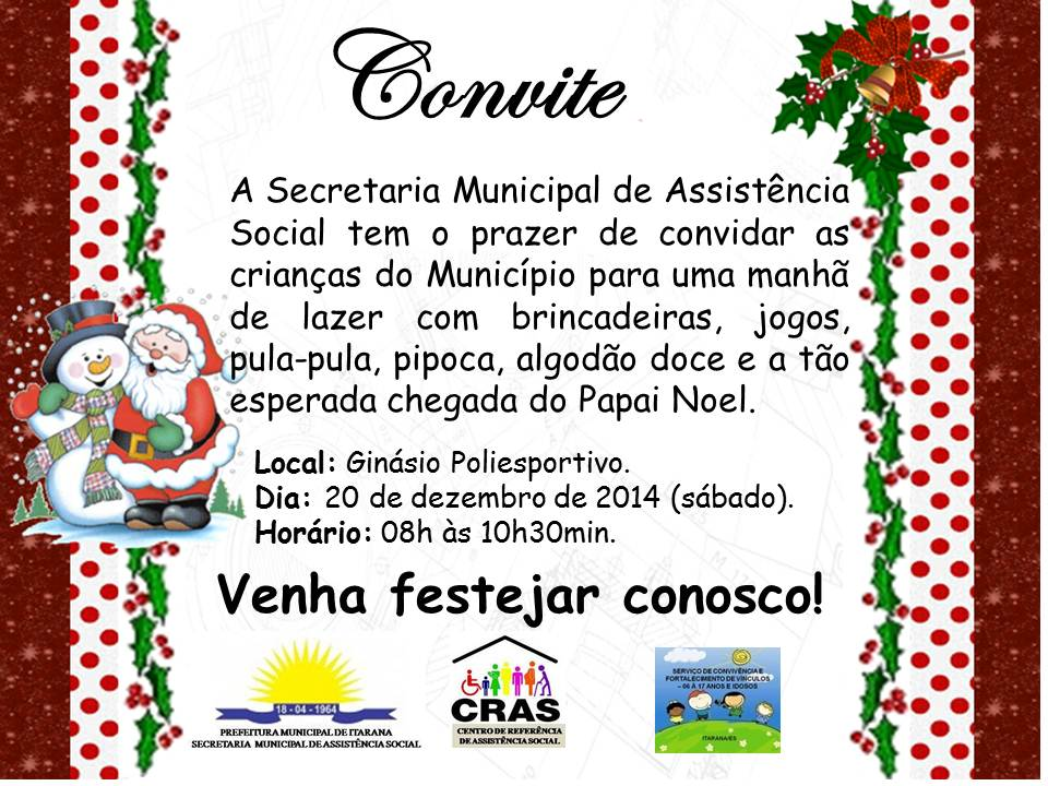 Natal: Manhã de lazer especial para as crianças no dia 20