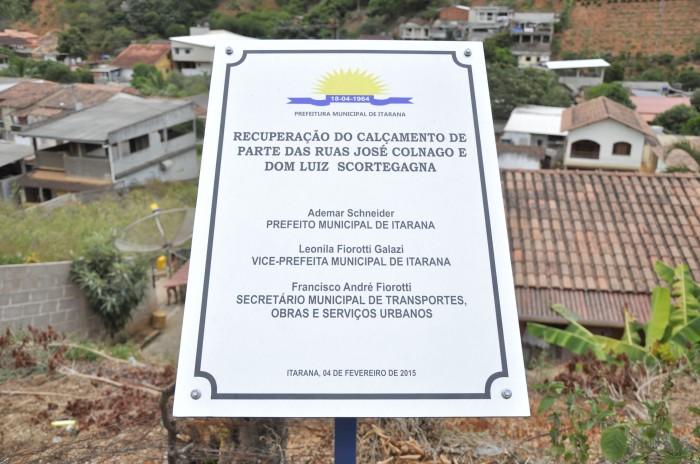 Prefeitura inaugura recuperação do calçamento das ruas José Colnago e Dom Luiz Scortegagna