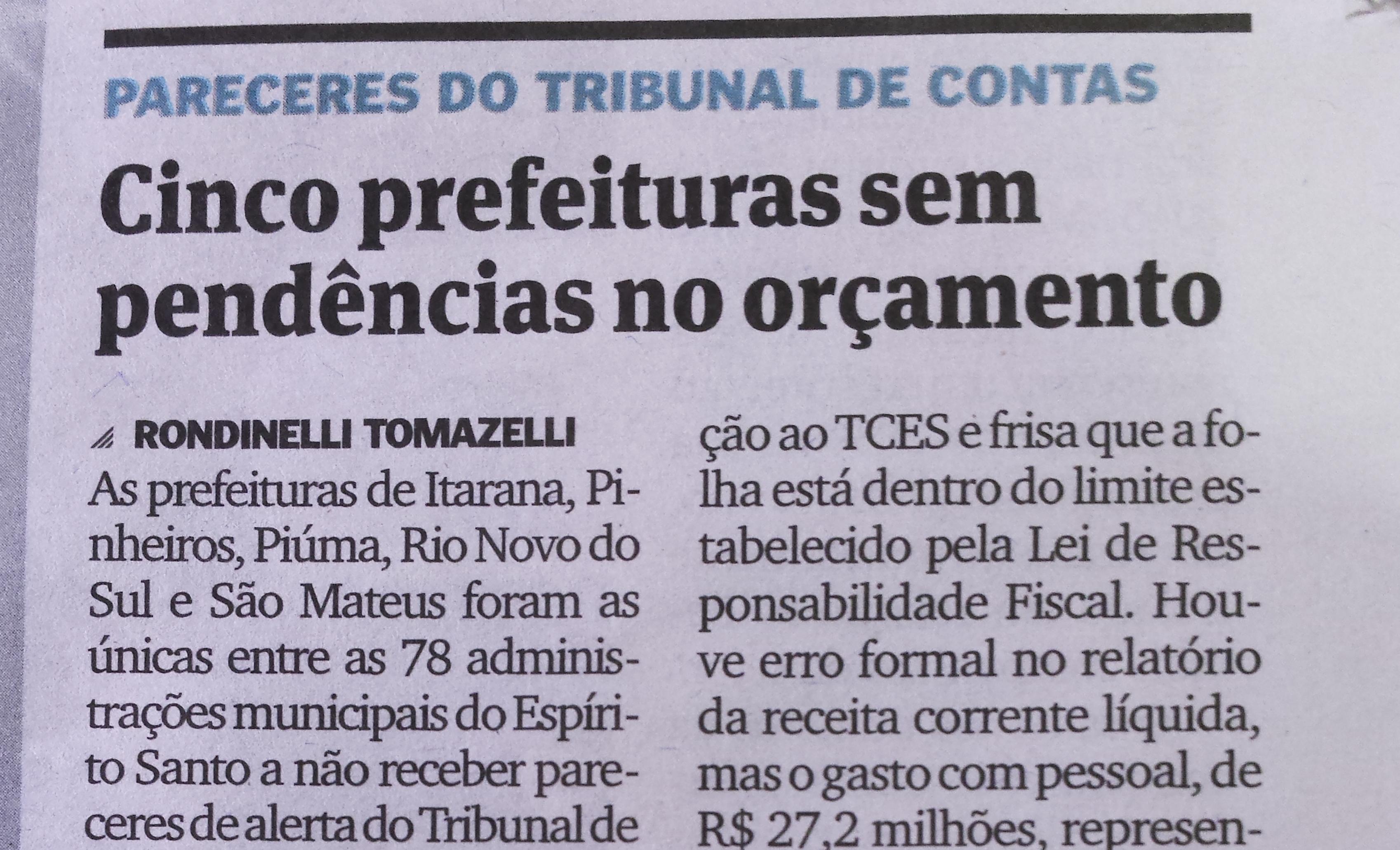 Jornal retifica informação publicada sobre Itarana