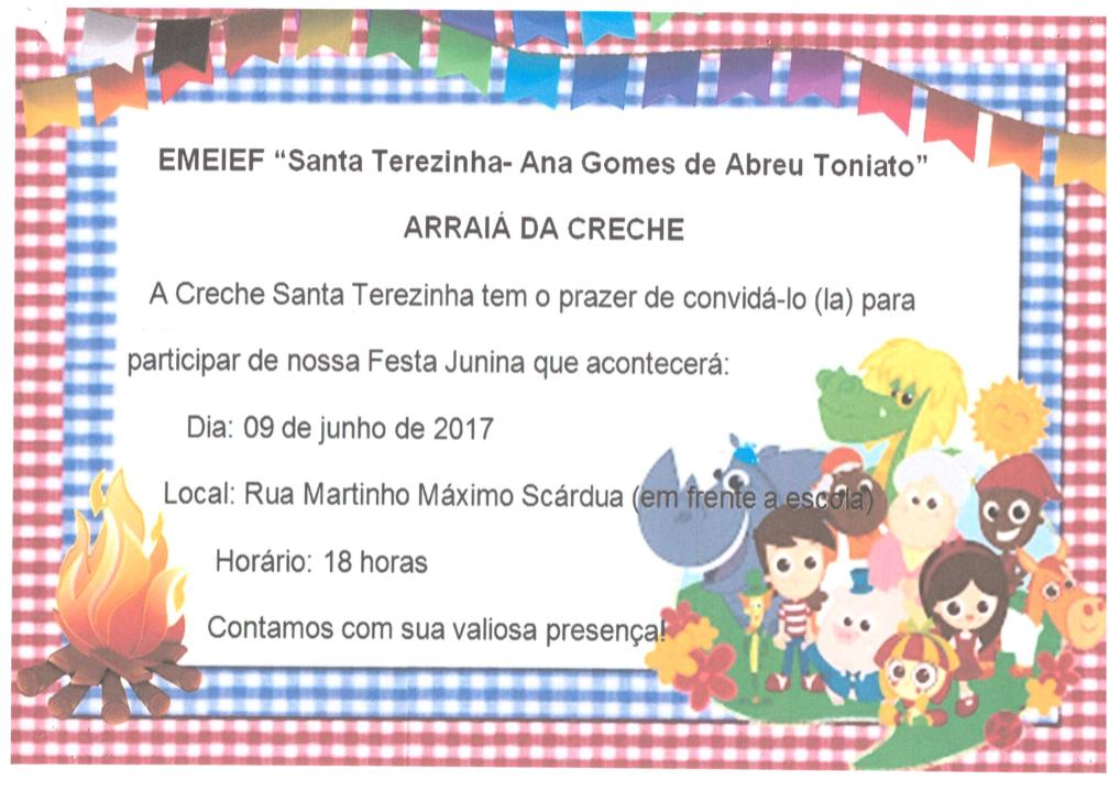 Convite - Arraiá da Creche Santa Terezinha (Centro)