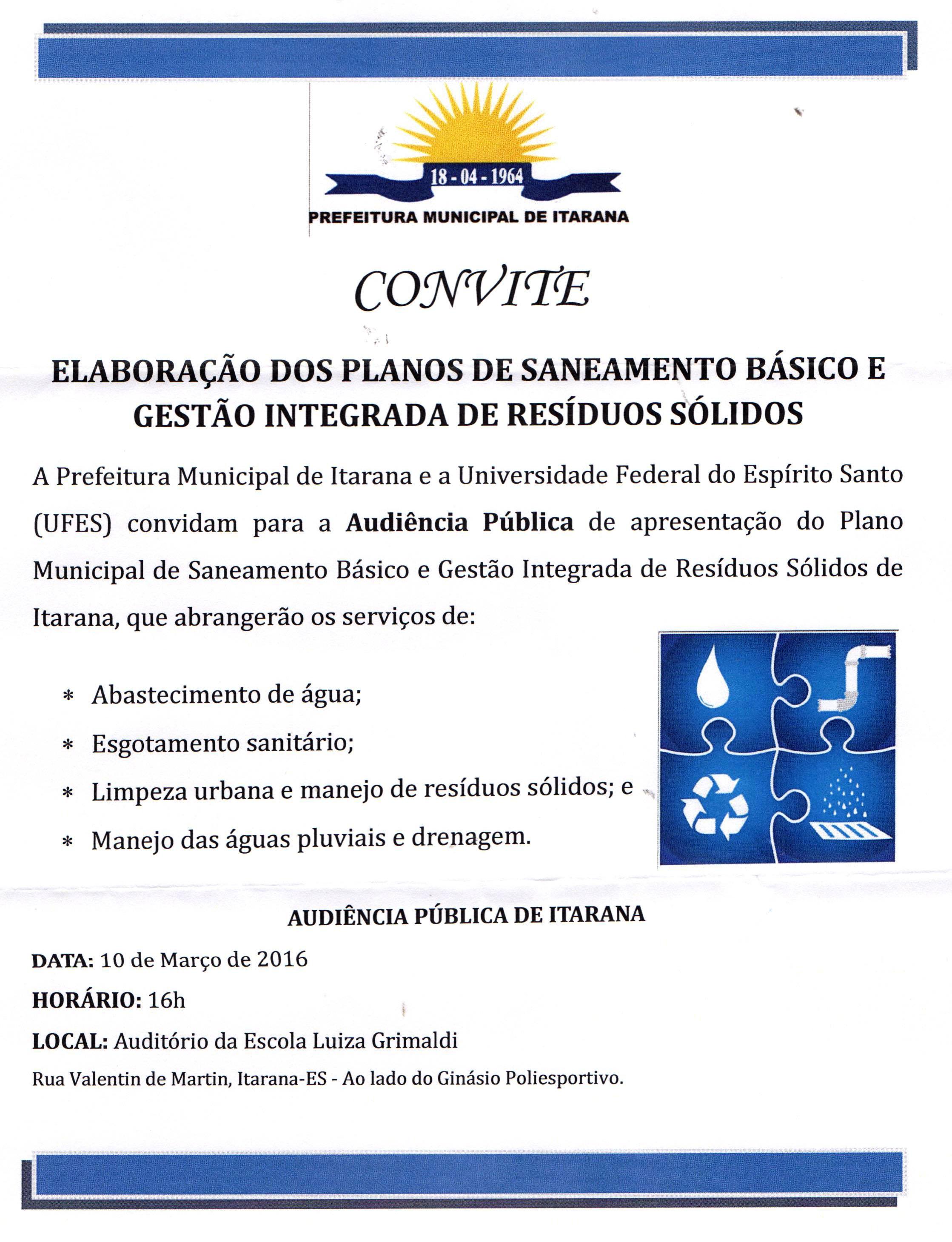 Convite: Elaboração dos Planos de Saneamento Básico e Gestão Integrada de Resíduos Sólidos