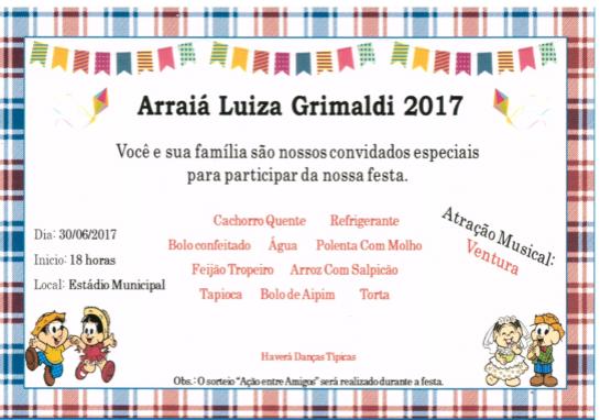 Convite - Arraiá Luiza Grimaldi 2017