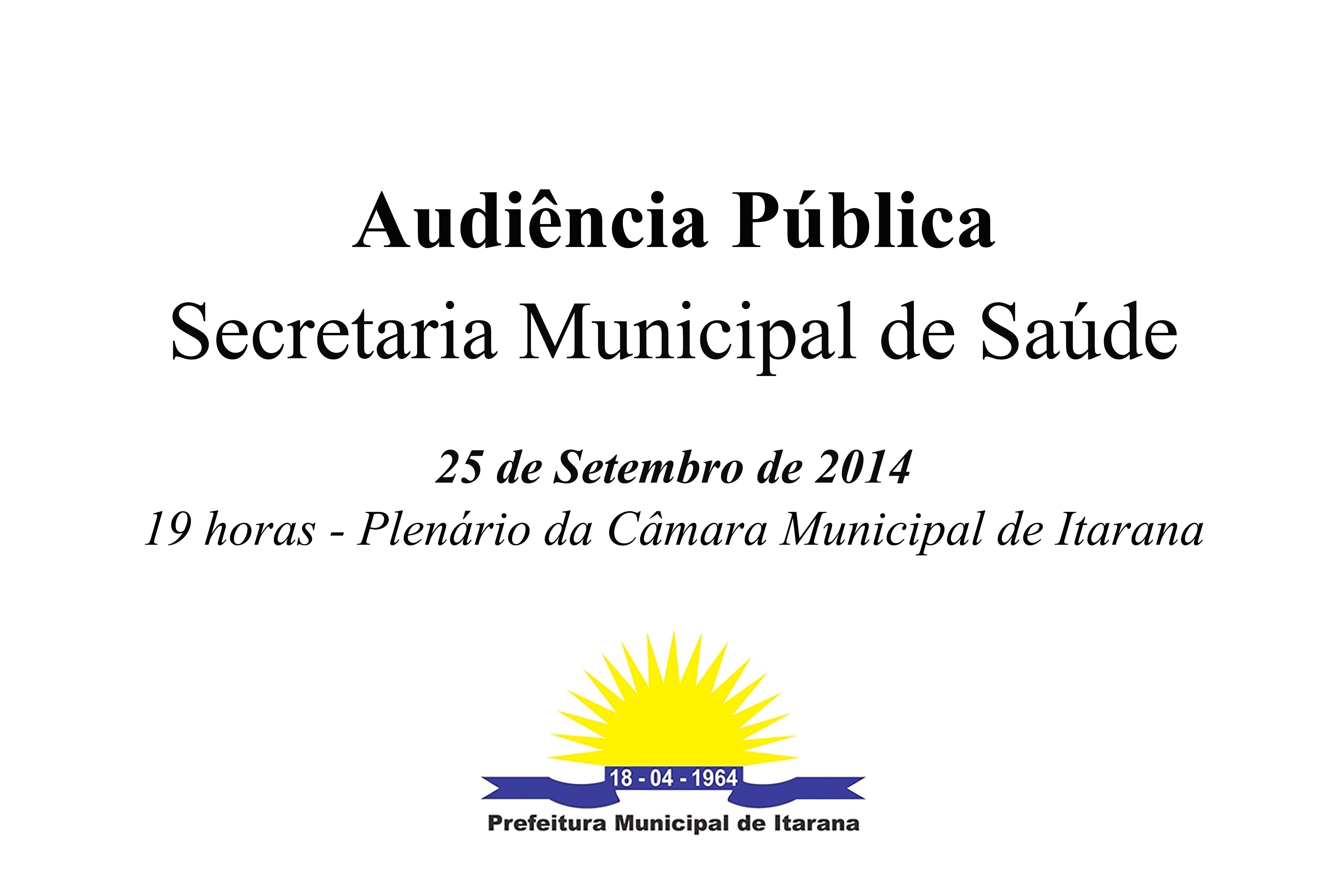 Secretaria Municipal de Saúde promove Audiência Pública nesta quinta-feira (25)