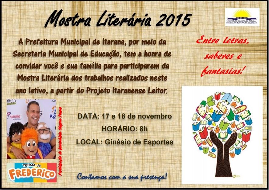 Educação: Mostra Literária será realizada nos dias 17 e 18