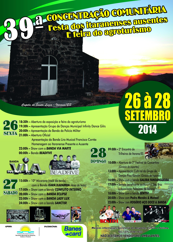 Programação da 39ª Concentração Comunitária, Festa dos Itaranenses Ausentes e Feira do Agroturismo