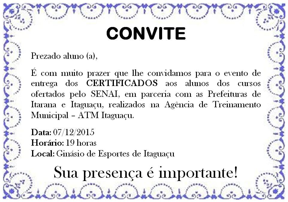 Convite: Entrega dos Certificados do SENAI