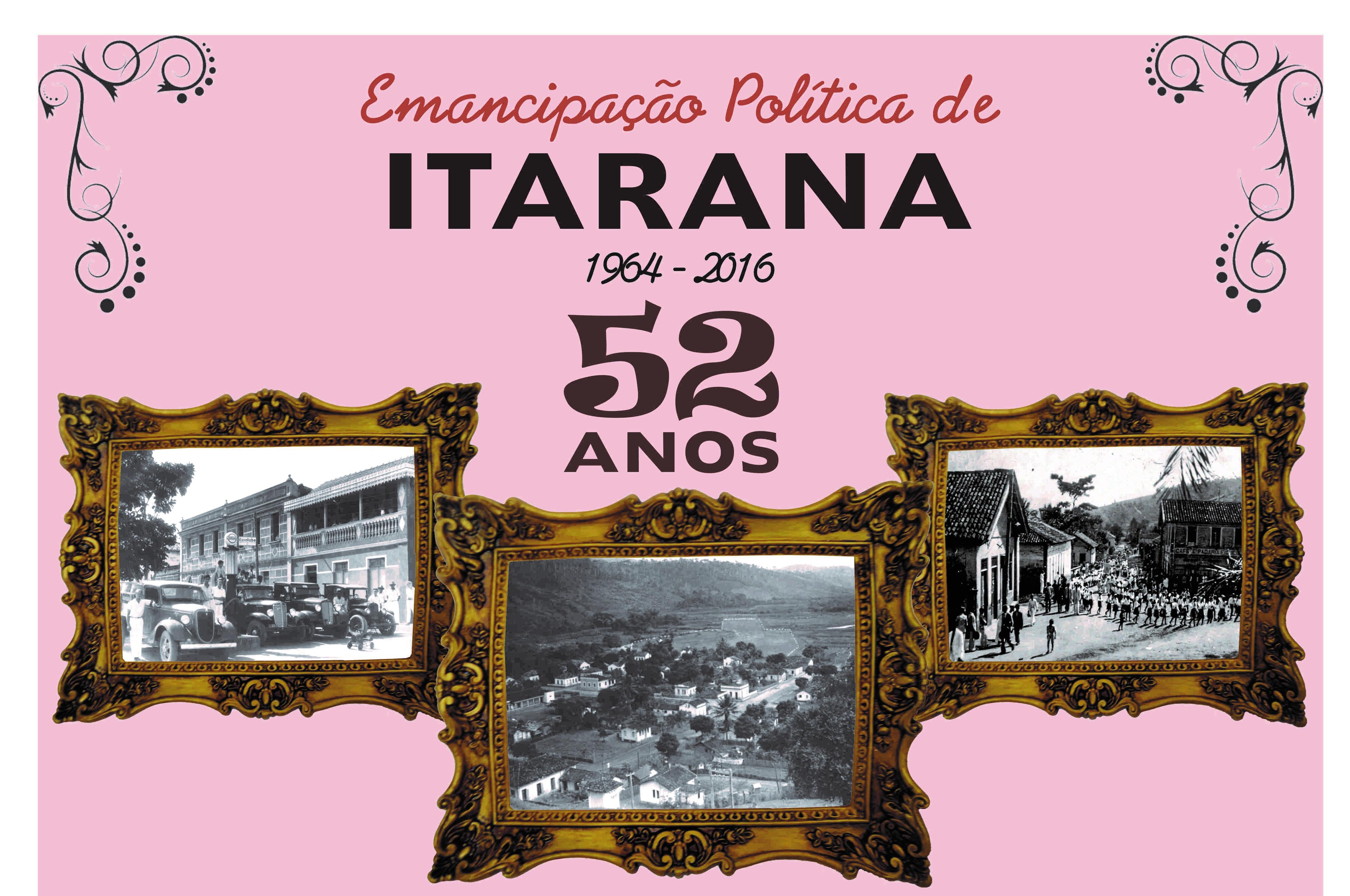 Comemoração dos 52 anos de Emancipação Política de Itarana começa no dia 15 de abril