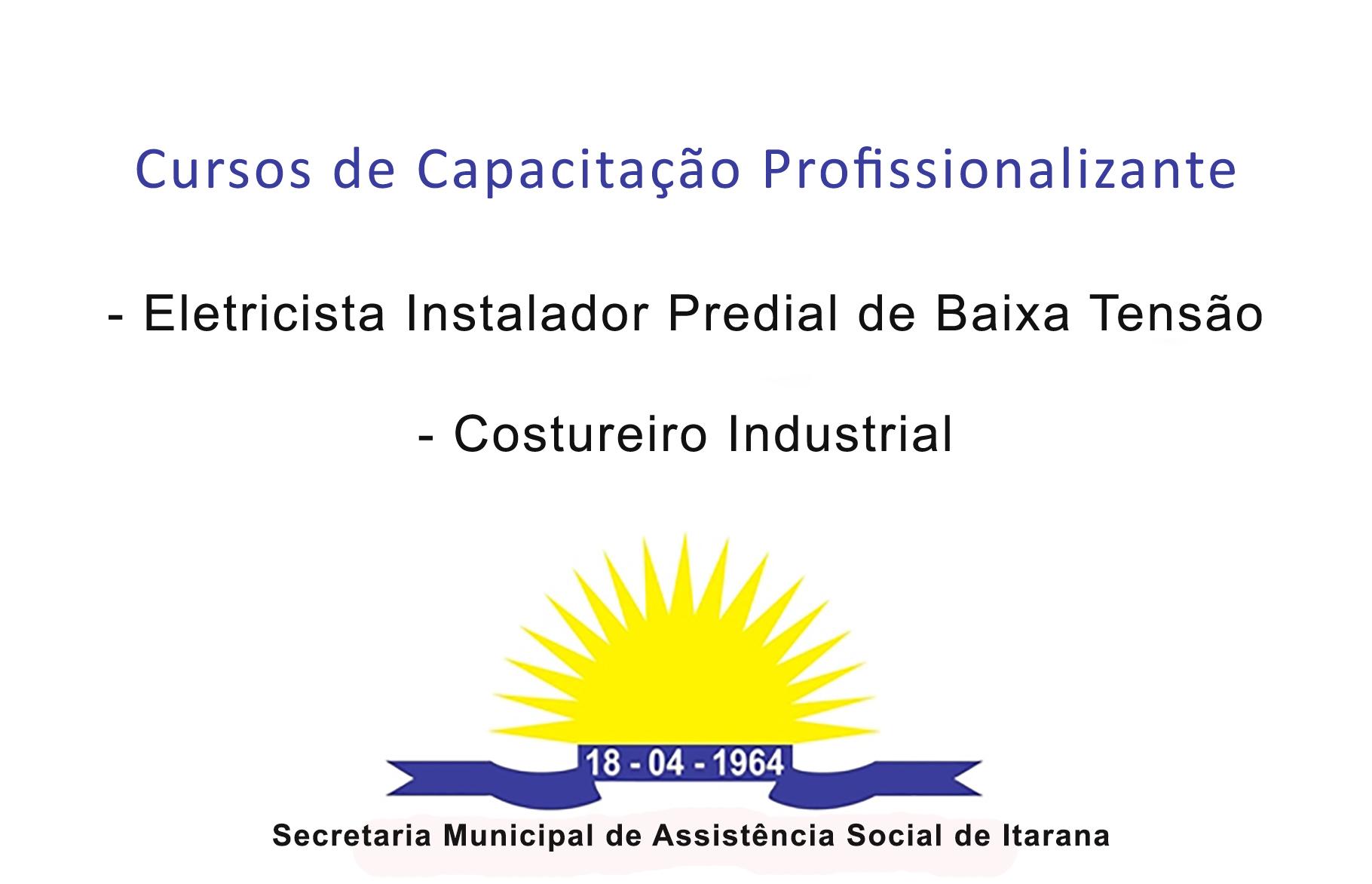 Abertas inscrições para cursos de Eletricista Instalador Predial e Costureiro Industrial