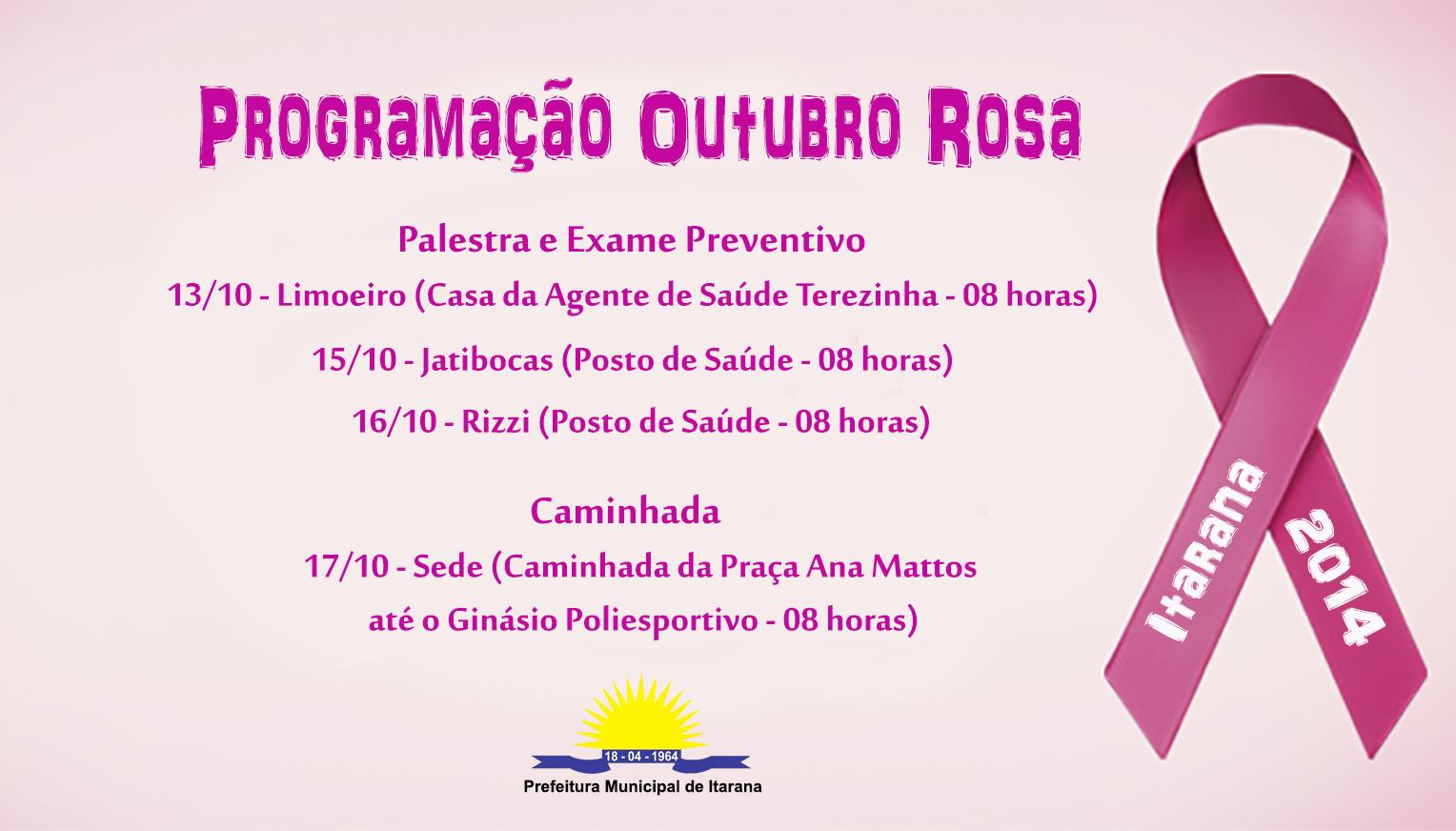 Programação do movimento Outubro Rosa começa no dia 13 em Itarana