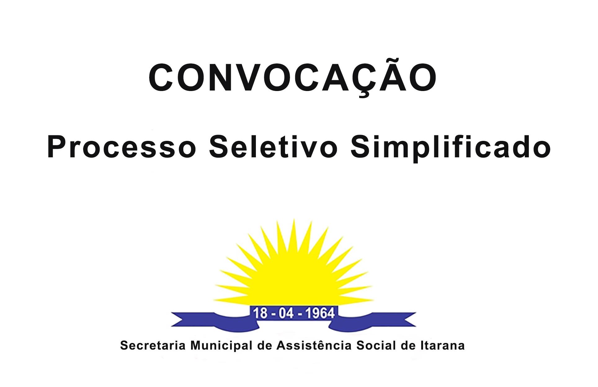 Assistência Social: Convocação Processo Seletivo Simplificado
