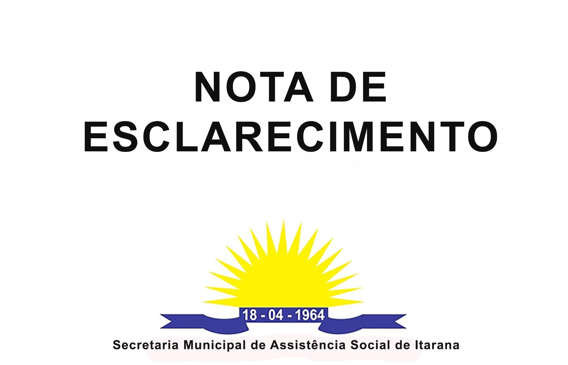 Nota de esclarecimento sobre o Programa Bolsa Família em Itarana