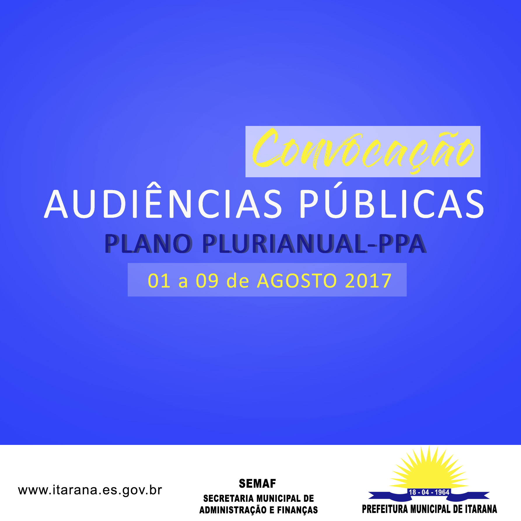 Prefeitura convoca população para Audiências Públicas do PPA