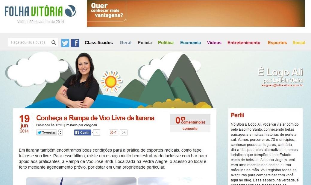 """Itarana é destaque no blog """"É Logo Ali"""""""