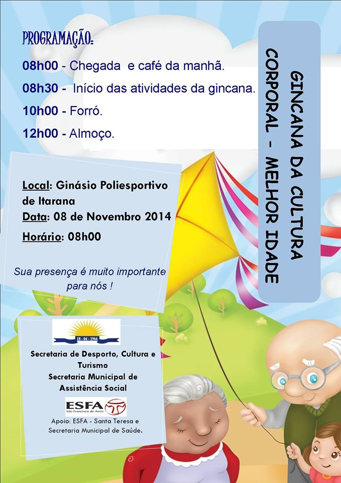 Secretarias promovem Gincana da Cultura Corporal para a melhor idade no sábado (08)