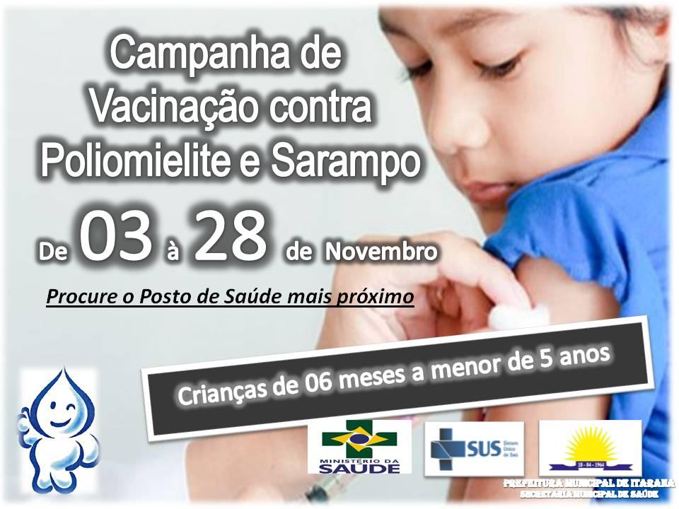 Campanha de vacinação contra Sarampo, Poliomielite e dTpa começa em Itarana