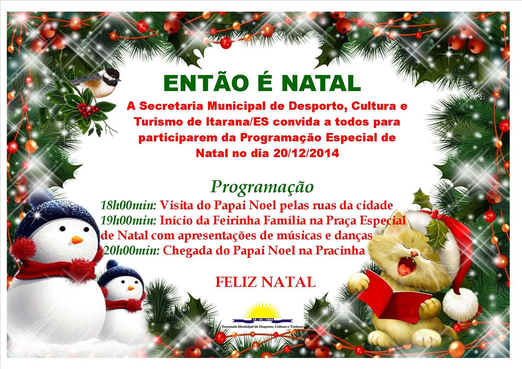 Itarana terá programação especial de Natal no sábado (20)